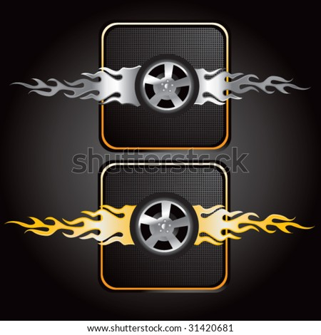 flaming tires icons - stock vector