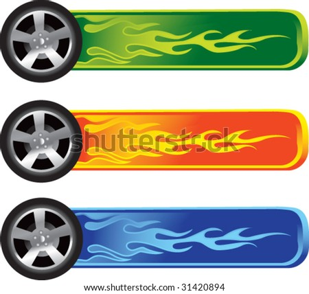 flaming tires on colored banners - stock vector
