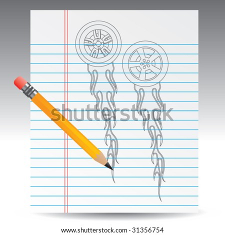 flaming tires on notebook paper with pencil - stock vector