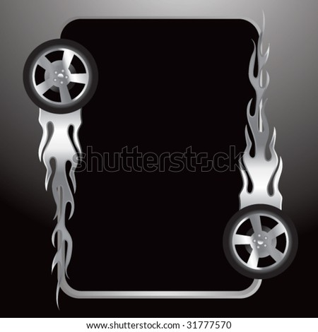 flaming tires on silver frame - stock vector