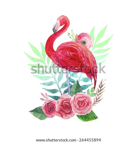 Flamingo and flowers. Watercolor tropical illustration with flamingo bird, roses, ranunculus, branches, herbs and palm tree leaves background. Hand drawn bright art in vector  - stock vector