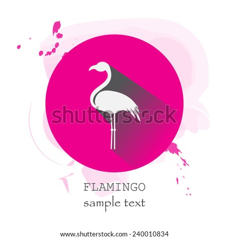 Flamingo Icon with long shadow on stylish pink background - stock vector