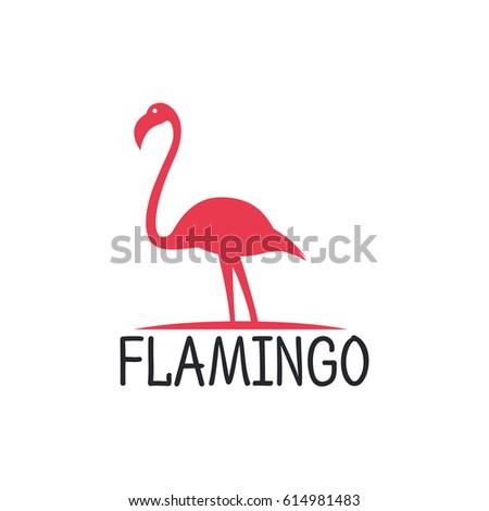 flamingo beak template - flamingo logo design vector template stock vector