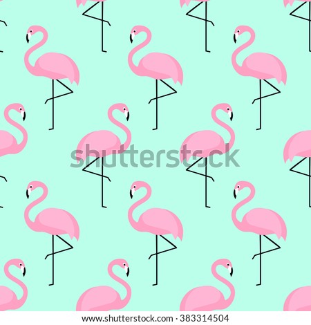 Flamingo seamless pattern on mint green background. Pink flamingo vector background design for fabric and decor. - stock vector