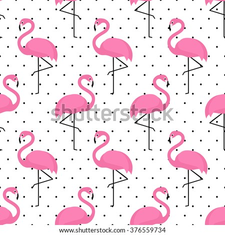 Flamingo seamless pattern on polka dots background. Flamingo vector background design for fabric and decor. - stock vector