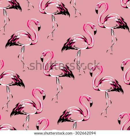 flamingo sketch vector illustration seamless  - stock vector
