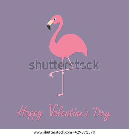 Flamingo standing on one leg. Exotic tropical bird. Zoo animal collection. Cute cartoon character. Happy Valentines day. Love greeting card. Decoration Flat Violet background.Vector illustration  - stock vector