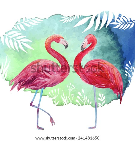 Flamingos. Watercolor tropical illustration with flamingo couple and palm tree leaves background. Hand drawn bright art in vector  - stock vector