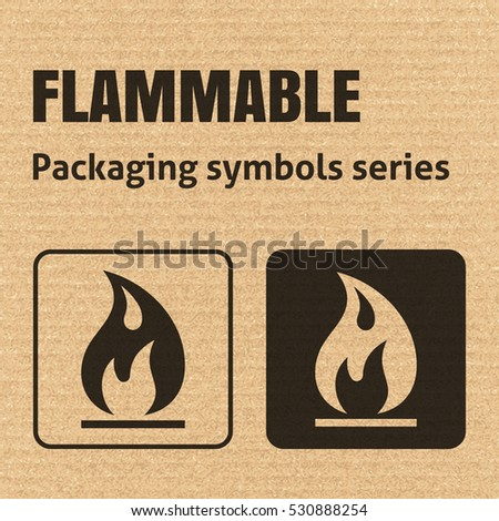 FLAMMABLE packaging symbol on a corrugated cardboard background. For use on cardboard boxes, packages and parcels. EPS10 vector illustration