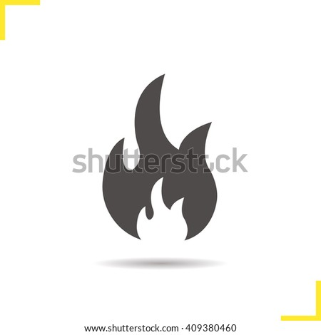 Flammable sign. Flame icon. Drop shadow fire silhouette symbol. Vector isolated illustration - stock vector