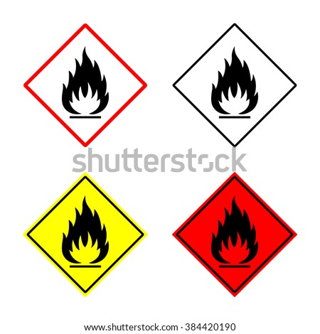 flammable sign set. flammable sign or symbol placed in rhomb. flammable emblem. isolated on white background. vector illustration - stock vector