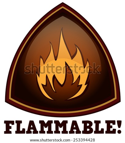 Flammable Triangular Warning Sign, Vector Illustration isolated on White Background.  - stock vector