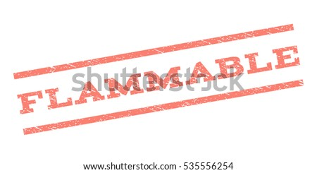 Flammable watermark stamp. Text tag between parallel lines with grunge design style. Rubber seal stamp with dust texture. Vector salmon color ink imprint on a white background.