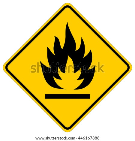 Flammable - yellow square warning sign , isolated vector illustration - stock vector