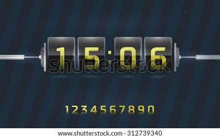 Flap clock and number counter template - stock vector