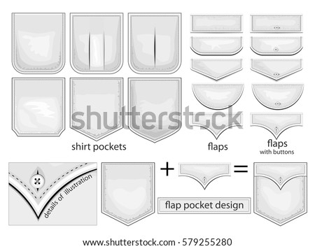 Pocket stock images royalty free images vectors shutterstock flap pockets design vector collection of shirt pockets pronofoot35fo Gallery