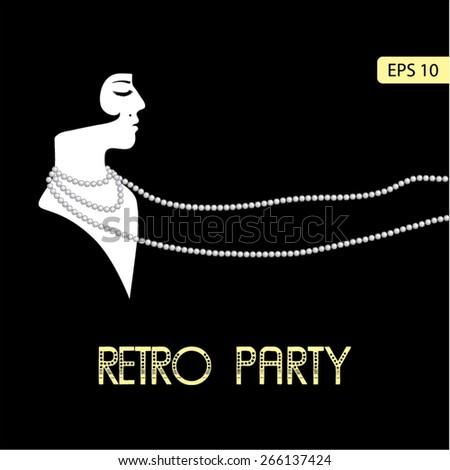 Flapper girl: Retro party invitation design template in 20's style. Vector illustration. - stock vector
