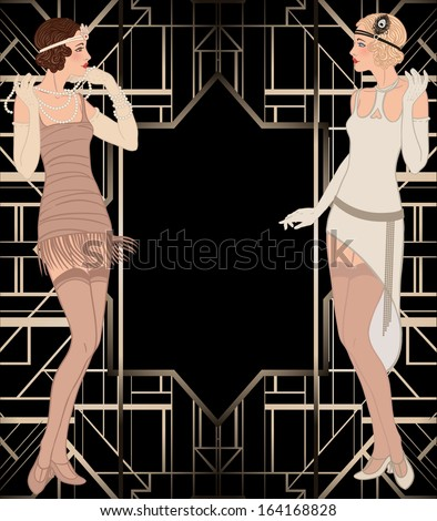 Flapper girl: Retro party invitation design. Vector illustration. - stock vector