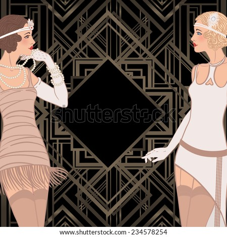 Flapper girl: Retro party invitation design. Vector illustration with two standing vintage style girls. Invitation template. - stock vector