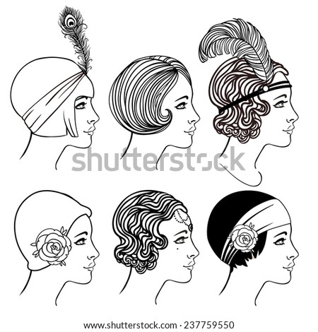Flapper girl: Set of classic 1920's hairstyles and hats. Vector illustration in black and white.  - stock vector