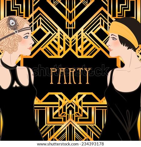 Flapper girl set: retro women of twenties. Vector illustration.   - stock vector