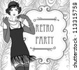 Flapper girls set: retro party invitation design in 20's style - stock photo