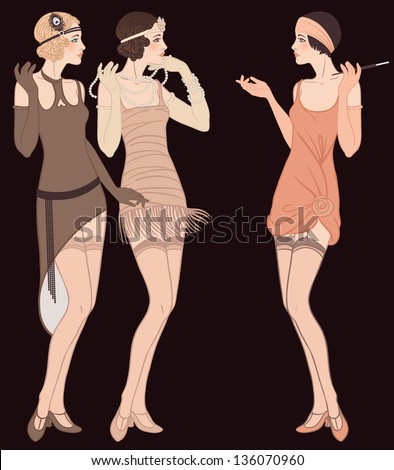 Flapper girls set: three young beautiful women of 1920s in different dresses are talking - stock vector