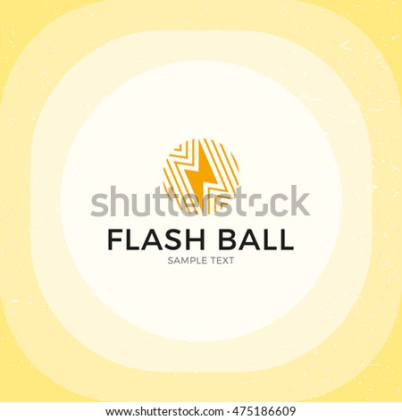 Flash Ball Thunder Logo Design Template Vector Electric And Energy Sphere Lightning Logotype