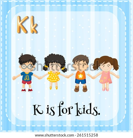 Flash card letter K is for kids - stock vector