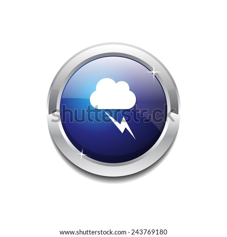 Flash Cloud Blue Vector Icon Button - stock vector