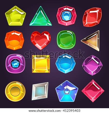 Flash Game Design Jewel Set Of Flat Vector Icons Isolated On Dark Blue Background