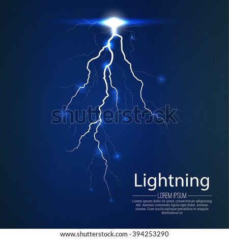 Flash of a lightning on a translucent background. The category of energy, the bright shining arch. Realistic lighting effect. Vector abstract background - stock vector