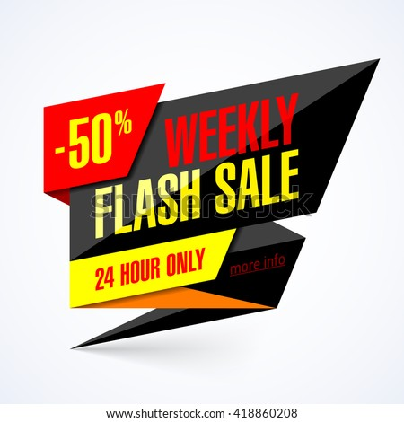 Flash Sale banner. 24 hour only special offer, up to 50% off. Vector illustration. - stock vector