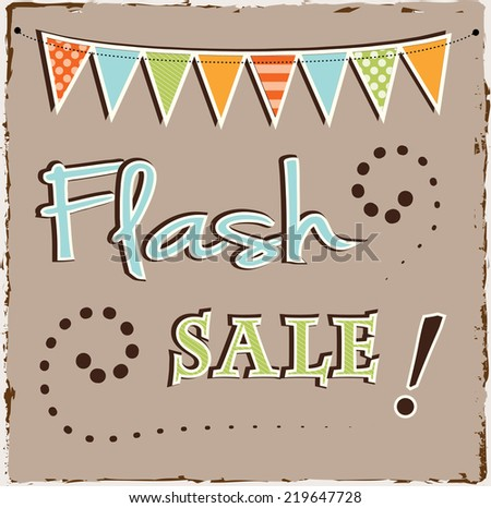 Flash sale template with bunting or banner on brown grunge background - stock vector