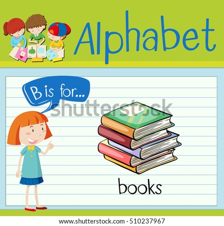 Flashcard letter B is for books illustration