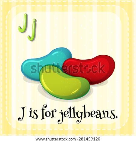 Flashcard letter J is for jellybeans - stock vector