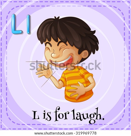 Flashcard letter L is for laugh illustration - stock vector