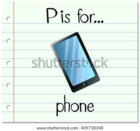 Flashcard letter P is for phone