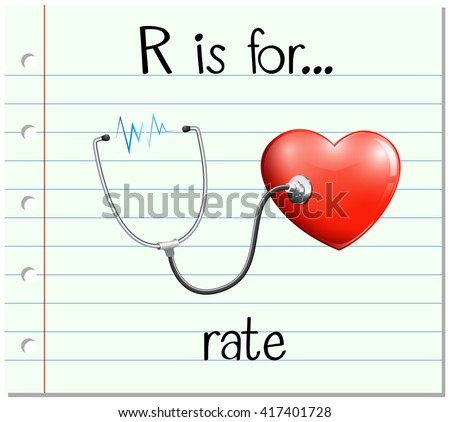 Flashcard letter R is for rate illustration