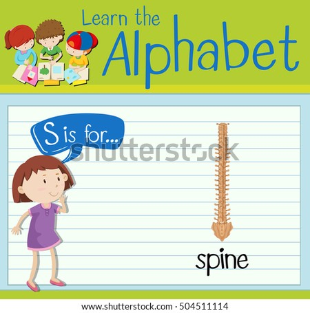 Flashcard letter S is for spine