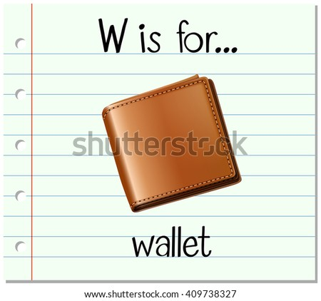 Flashcard letter W is for wallet
