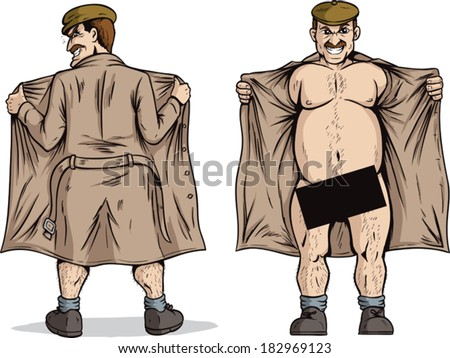 Flasher flashing. With vector, Black box can be removed to show full nudity.