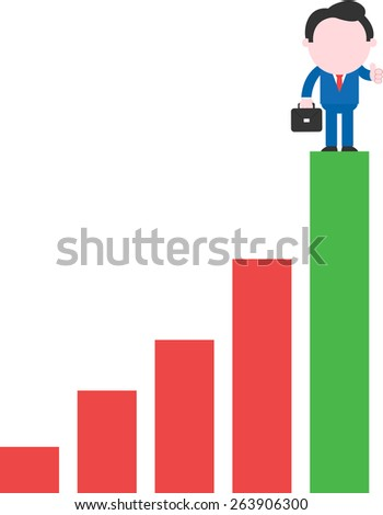Flashing thumb-up happy faceless cartoon businessman with briefcase on top rung of bar chart - stock vector