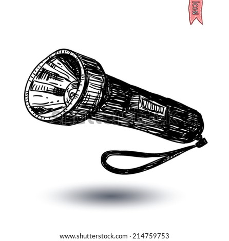 flashlight icon, hand drawn vector illustration.