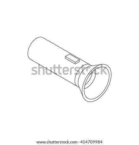 Flashlight icon, isometric 3d style  - stock vector