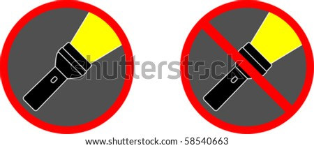 Flashlight signs - stock vector