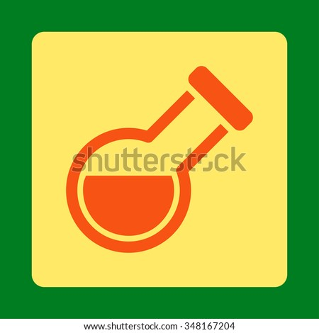 Flask vector icon. Style is flat rounded square button, orange and yellow colors, green background. - stock vector