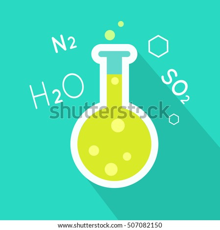 Flask vector in flat style. Chemical laboratory instruments and tools. Glass bottle with green liquid. Illustration for scientific and educational concepts. Isolated on white background