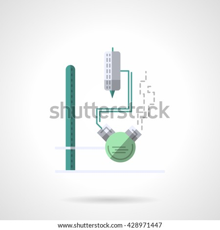 Flask with tube and thermometer on a rack. Laboratory equipment. Chemistry research, biology, pharmacology and medicine. Flat color style vector icon