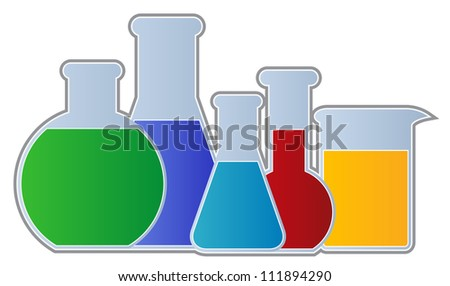 Flasks and Beaker-Chemistry Equipment including flasks and beaker isolated - stock vector